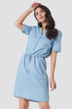 Trendyol Bound Pocket Denim Dress - Blue