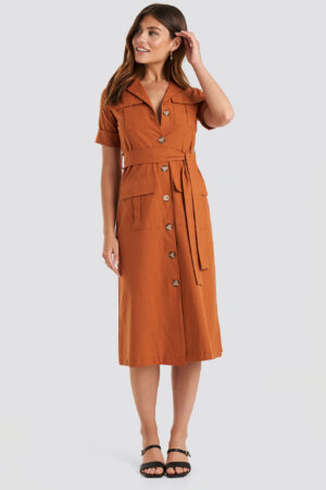 Trendyol Buttoned Midi Dress - Orange