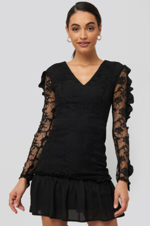 Trendyol Frilly Lace Sleeve Mini Dress - Black