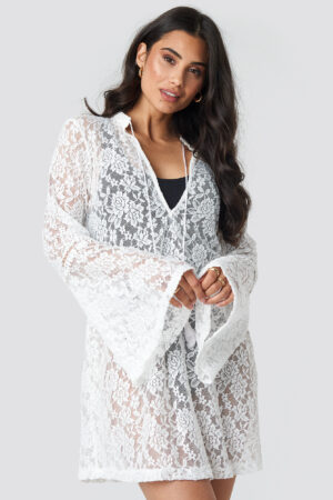 Trendyol Lace Beach Mini Dress - White