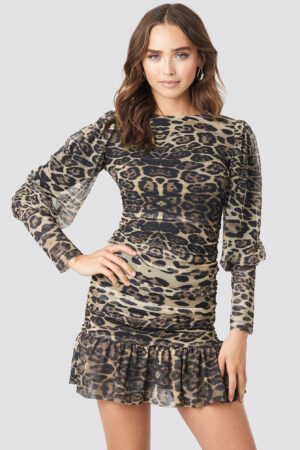 Trendyol Leopard Drape Detailed Dress - Multicolor