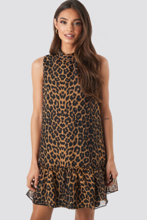 Trendyol Leopard Print Mini Dress - Brown