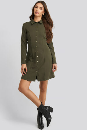 Trendyol Midi Buttoned Shirt Dress - Green
