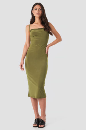 Trendyol Milla Thin Strap Midi Dress - Green