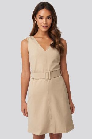 Trendyol Milla Waist Belt Mini Dress - Beige