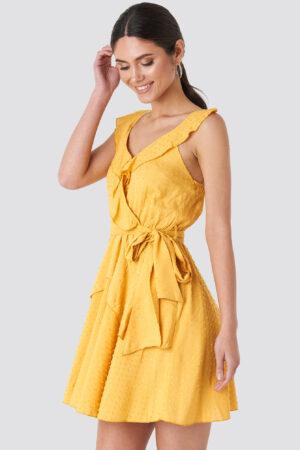 Trendyol Mustard Frilly Binding Dress - Yellow
