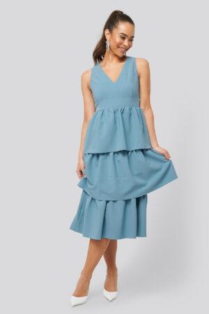 Trendyol Neck Detailed Dress - Blue