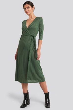 Trendyol Overlap Detailed Midi Dress - Green