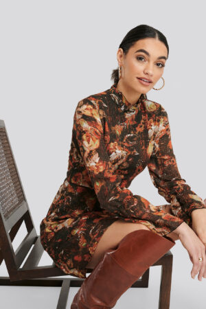 Trendyol Patterned Mini Dress - Orange