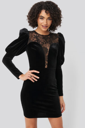 Trendyol Puff Sleeve Detailed Velvet Dress - Black