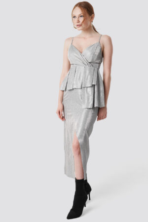 Trendyol Shiny Slit Maxi Dress - Silver