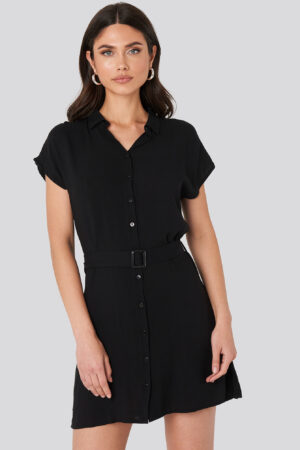 Trendyol Belted Shirt Mini Dress - Black