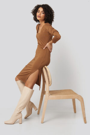 Trendyol Side Slit Textured Knitted Midi Dress - Brown