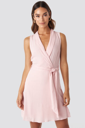 Trendyol Sleveless Wrap Mini Dress - Pink