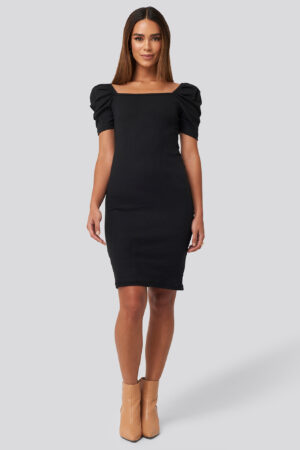 Trendyol Square Neck Puff Sleeve Knitted Mini Dress - Black