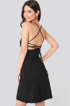 Trendyol Strap Back Detailed Mini Dress - Black