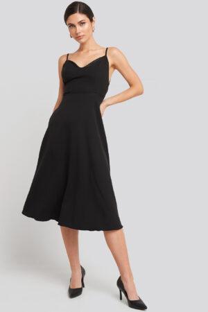 Trendyol Thin Strap Satin Detailed Midi Dress - Black