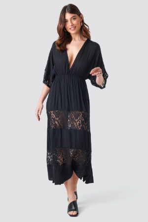 Trendyol Tulum Lace Maxi Dress - Black