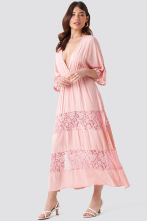 Trendyol Tulum Lace Maxi Dress - Pink