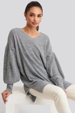 Trendyol V-Neck Knitted Mini Dress - Grey