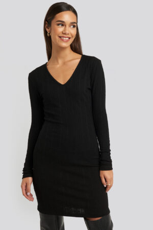 Trendyol V-Neck Knitted Mini Dress - Black