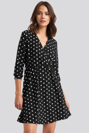 Trendyol Yol Dotted Mini Dress - Black