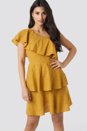 Trendyol Yol One Shoulder Dress - Yellow