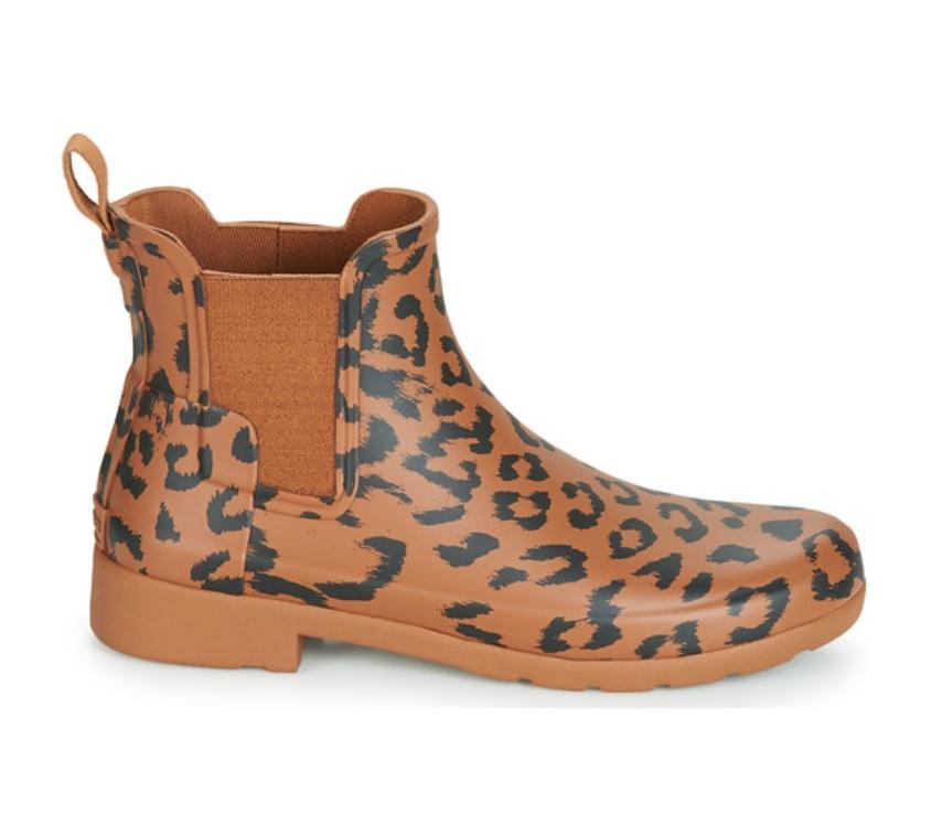 Leopardmönstrad chelsea brun stövel med resårband.