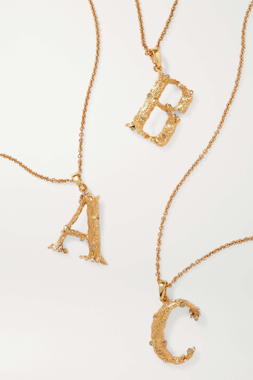 Bokstavshalsband Guld med stor bokstav i guldplaterad metal med små kristaller