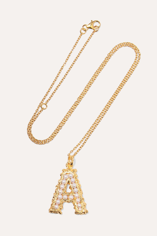 Halsband med bokstav i guldplätterat silver med pärlor