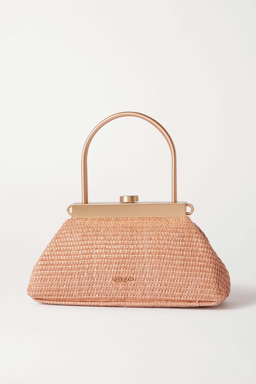 Liten rosa stråväska med guldigt handtag