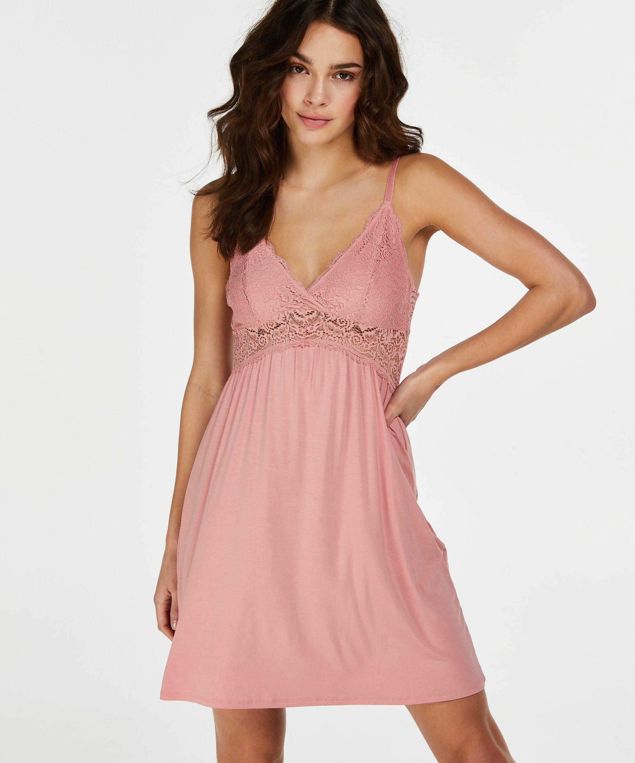 Underklänning/nattlinne i rosa spets