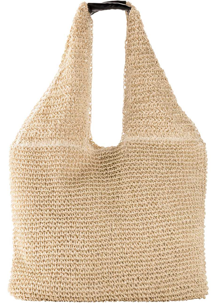 Stor stilren stråväska i naturliga färger med skinndetalj