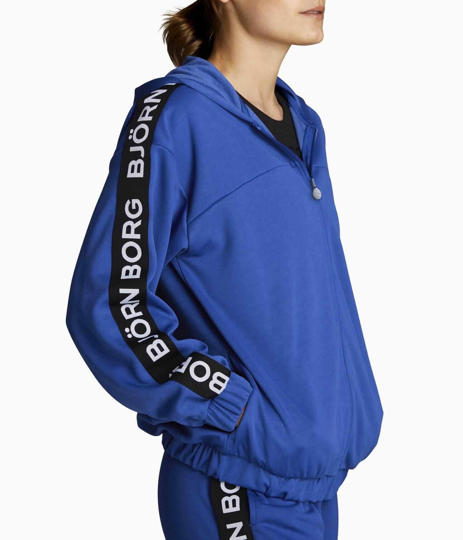Blå hoodie med svarta sträck med logotyp