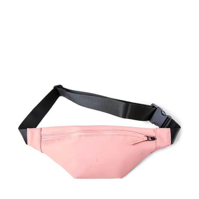 Magväska Rains rosa matt. Fack med dragkedja justerbar rem.