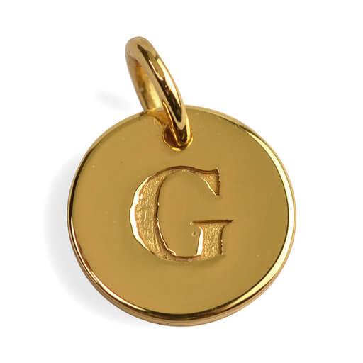 Bokstav på rund platta i silver plätterat med 18 K guld