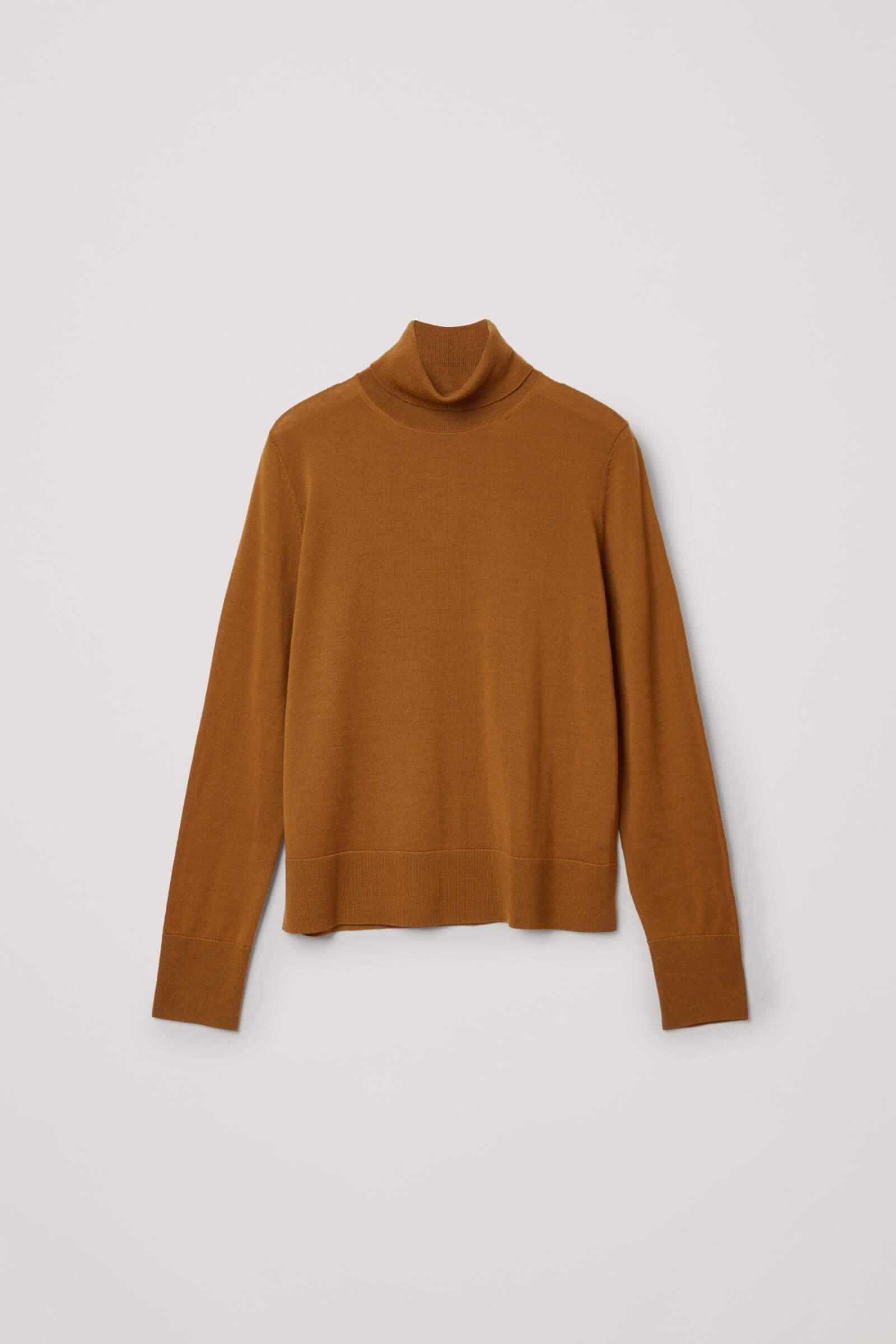 Brun tröja i merinoull långärmad