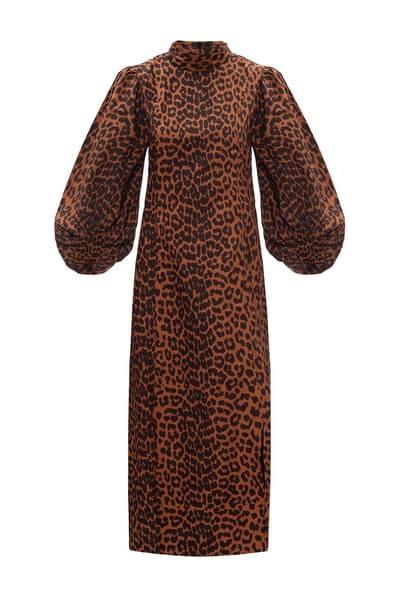 Brun lång klänning i leopardmönster