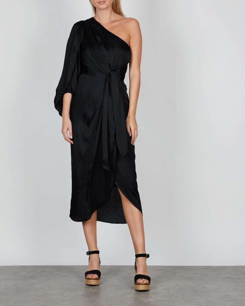Svart lång klänning med bar axel