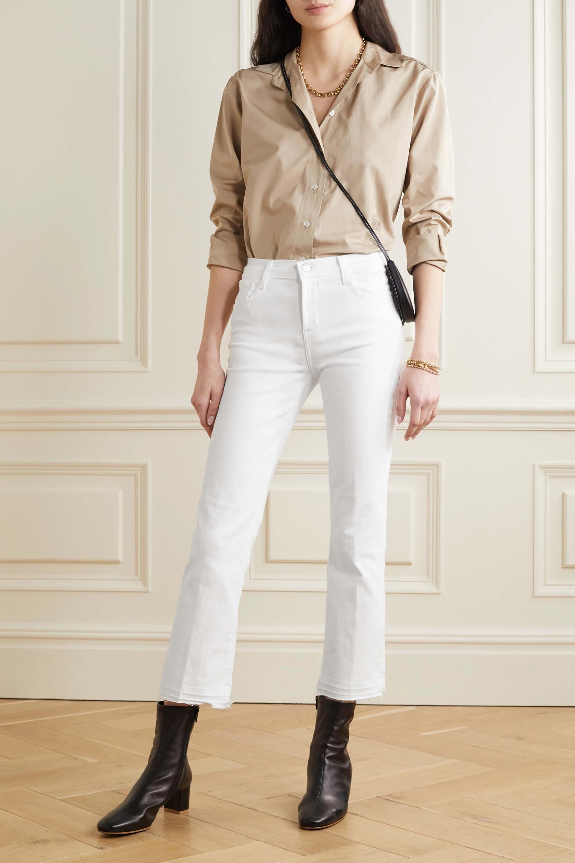 Utsvängda korta jeans i vitt