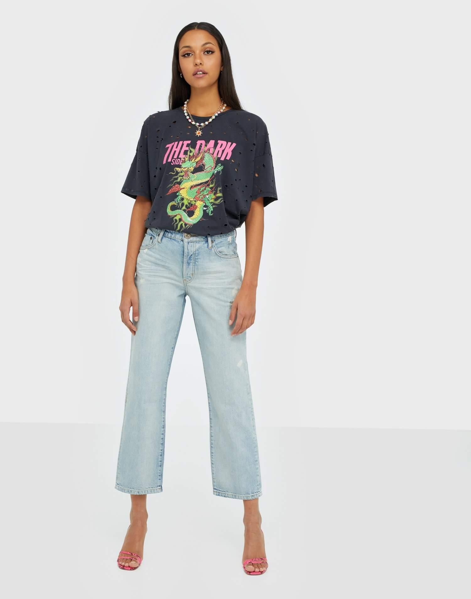 Jeans med kort benslut