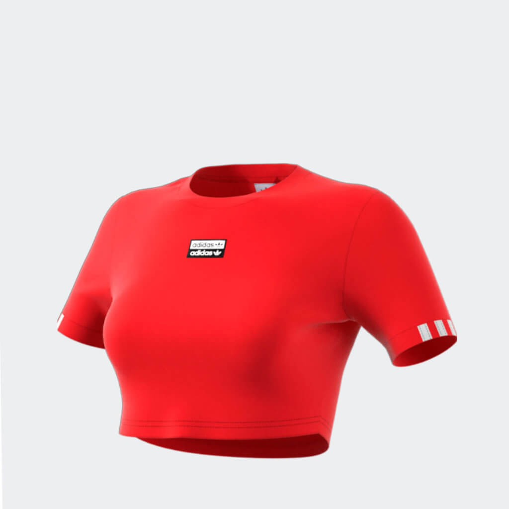 Röd croptop i t-shit modell