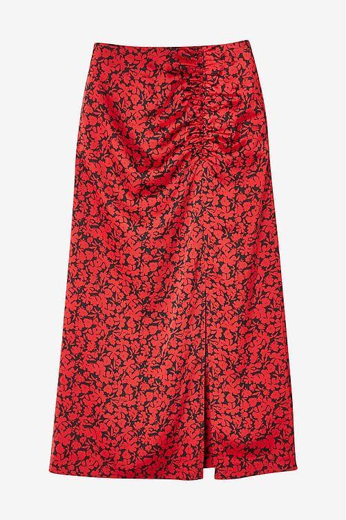 röd blommig vadlång kjol