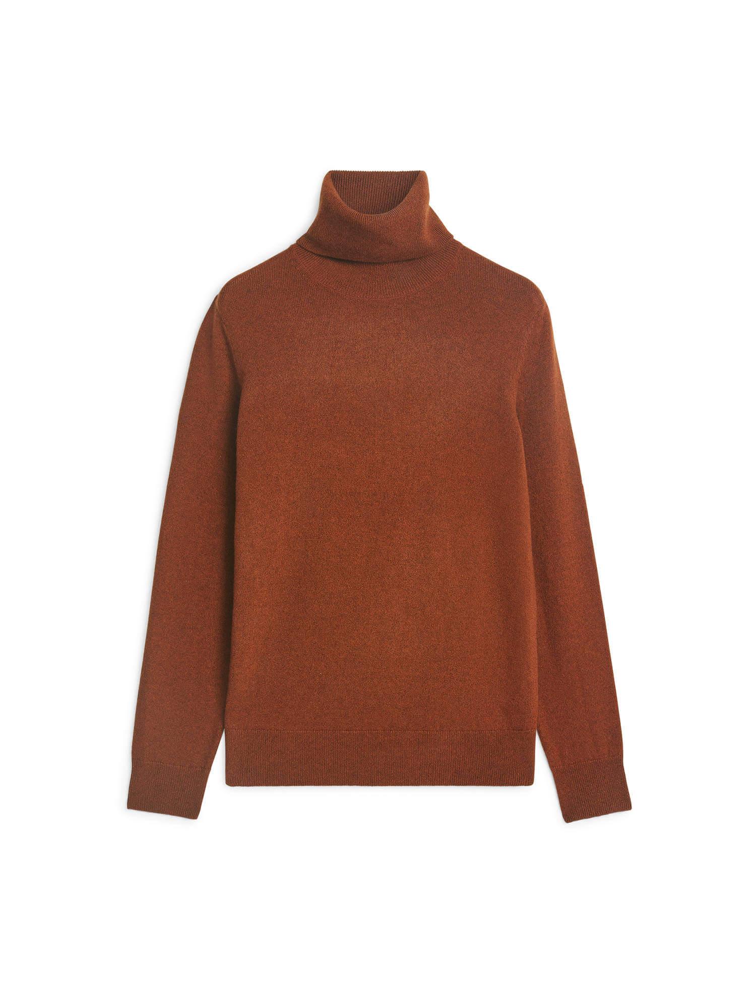 Brun/ornange kashmir tröja från Arket, hög polokrage.