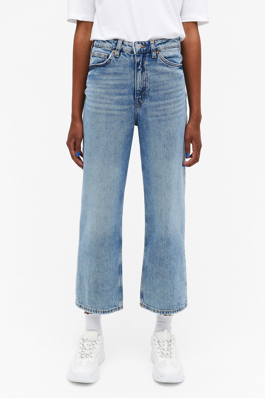 Croppade jeans ljusblå