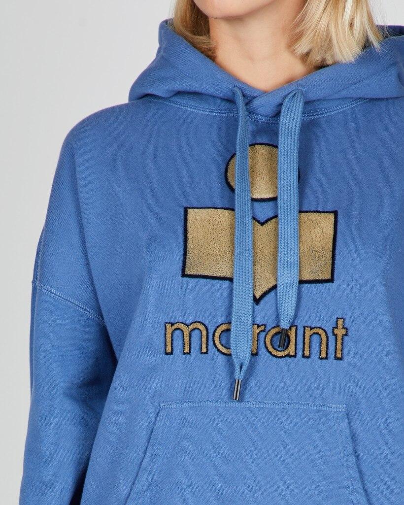 Blå huvtröja Isabel Marant med snörning ficka och logotyp fram.