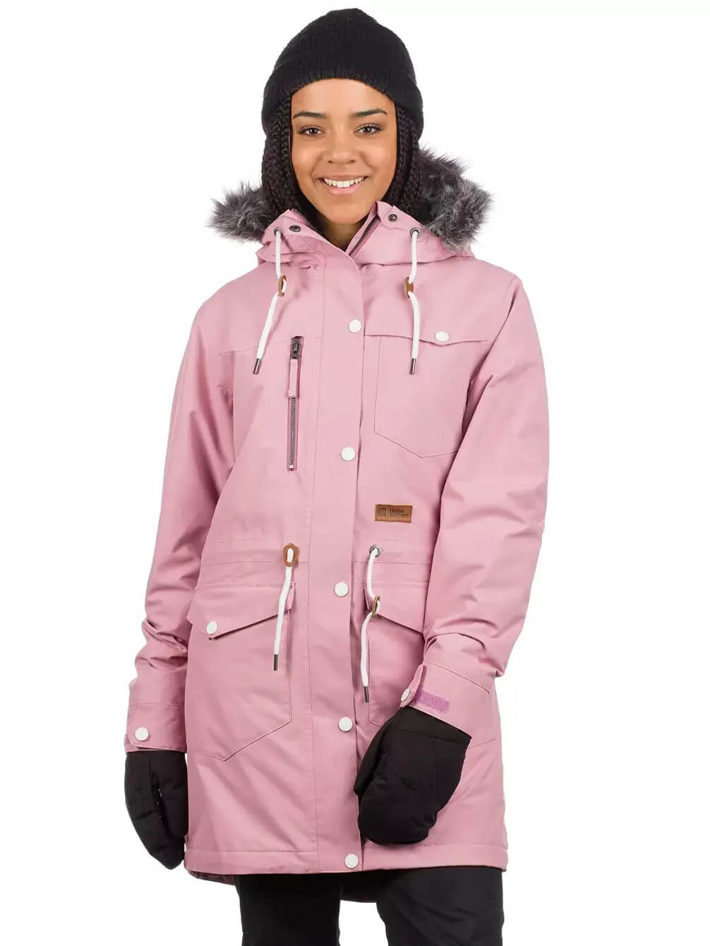 En rosa skidjacka från Horsefeathers i längre modell.