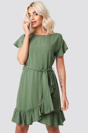 AFJ x NA-KD Ruffle Wrap Mini Dress - Green