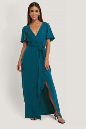 Anika Teller x NA-KD Maxiklänning Med Korslagd Front - Turquoise