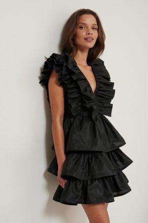 NA-KD ART Volume Ruffle Dress - Black